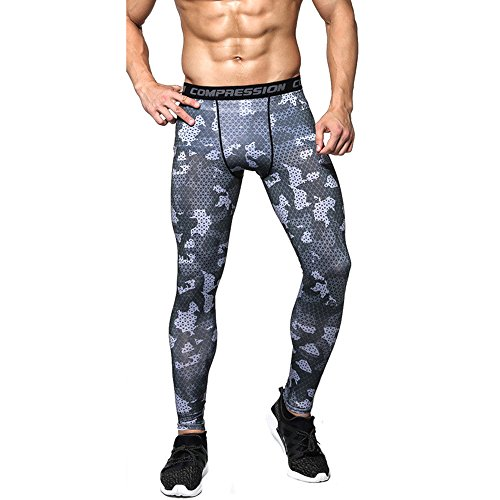 1Bests Men and Youth Boy Sports Fitness Compression Running Pants Quick-Drying Breathable Tight Long Leggings (XXXL, Black Grid)