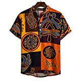 Men's Short Sleeve Shirts,Colorful Printing Ethnic Style Buttons Up Henley T Shirts Beach Party Tops Yellow