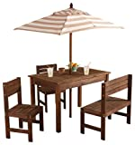 KidKraft Wooden Outdoor Children's Patio Set with Table, 2 Chairs & Beige & White Striped Fabric Umbrella