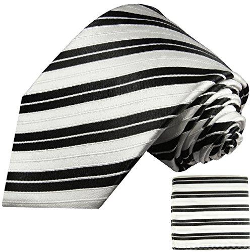 Cravate homme noire blanc rayé ensemble de cravate 2 Pièces ( longueur 165cm )