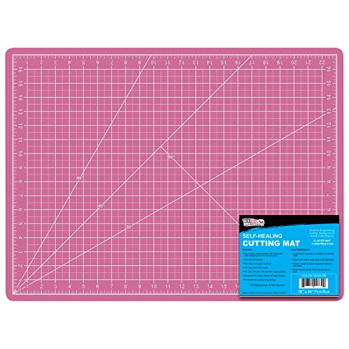"""US Art Supply 18"""" x 24"""" Pink/Blue Professional Self Healing 5-Ply Double Sided Durable Non-Slip PVC Cutting Mat Great for Scrapbooking, Quilting, Sewing and All Arts & Crafts Projects"""