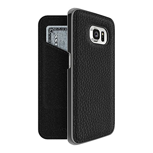 Adopted Leather Cell Phone Case for Samsung Galaxy S6 Edge - Black/Gunmetal