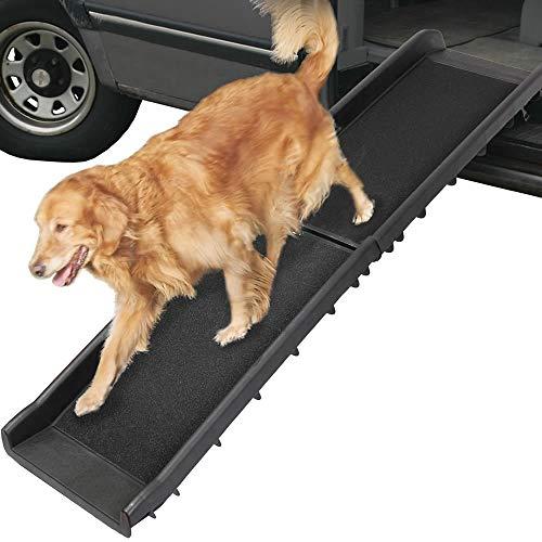 Melko Hunderampe 157,5 x 39,5 x 8,5 cm Kunststoff Hundetreppe mit Anti-Rutsch-Belag, klappbar