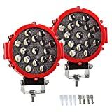 Pair 7 Inch 51W 5100LM Upgraded Spot Bumper LED Fog Light Bar, IP67 Round Red Pods 6500K Offroad Driving Roof Rack Light for Jeep Truck ATV SUV Construction Camping Hunters Boat,2 Years Warranty
