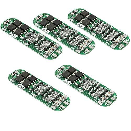ICQUANZX 11.1V 12.6V 20A 3S Protección de batería de Litio PCB BMS Board para 18650 18550 Li-Ion Lipo Battery Cell Pack (Paquete de 5)