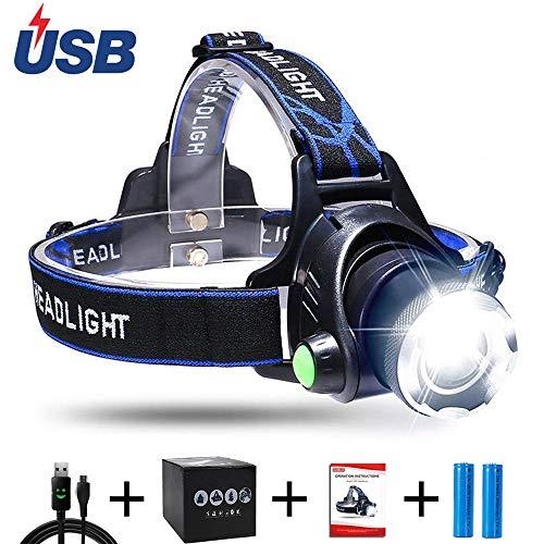 Aukelly LED Linterna Frontale USB Recargable Alta Potencia Linternas Frontals,Lámpara de Cabeza 3 Modos,Linterna Frontale...