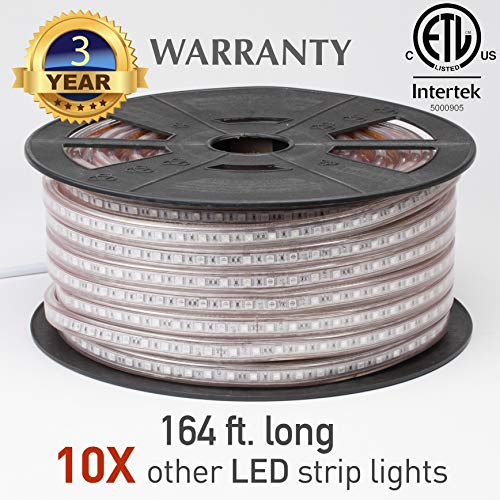 Lumilum LED Strip Lights – Professional 120V Outdoor Waterproof Dimmable – 164 Feet (Amber) 5