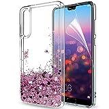 LeYi Funda Huawei P20 Pro Silicona Purpurina Carcasa con HD Protectores de Pantalla, Transparente Cristal Bumper Telefono Gel TPU Fundas Case Cover para Movil Huawei P20 Pro ZX Oro Rose