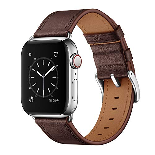 OUHENG Compatible with Apple Watch Band 42mm 44mm, Genuine Leather Band Replacement Strap Compatible with Apple Watch Series 6/5/4/3/2/1/SE 44mm 42mm, Chocolate Brown Band with Silver Adapter