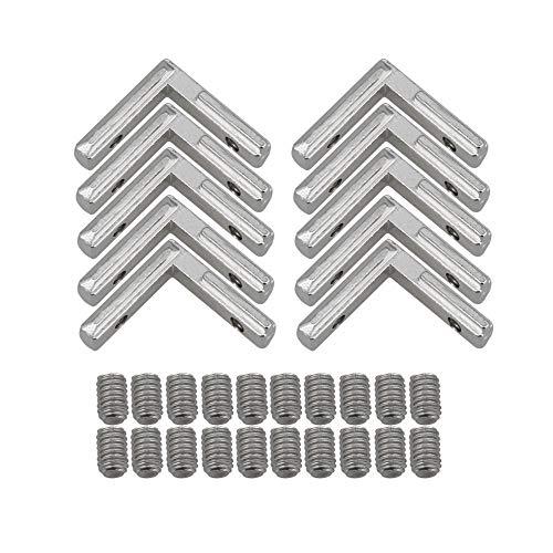 BQLZR Eckverbinder für Aluminium-Extrusionsprofil 2020 Serienschlitz, rechtwinklig, silberfarben, Karbonstahl, 6 mm, 10 Stück