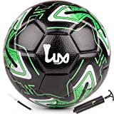 LUX Soccer Match Ball Size 5 with Free Premium Manual Ball Pump - Thermally Bonded Match Ball for...