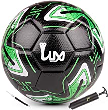 LUX Soccer Match Ball Size 5 with Free Premium Manual Ball Pump - Thermally Bonded Match Ball for Professional Training Use Men Youth Boys & Girls Soccer Players