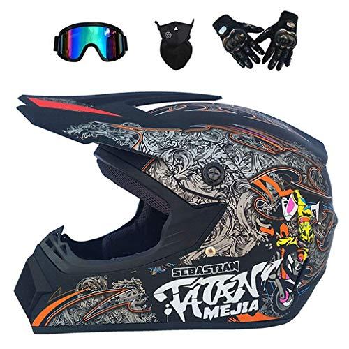 ZXDHELMET MX Erwachsener Motocross-Helm/Brille/Maske/Handschuhe Motorradhelm D.O.T Certified,B,XL58~59CM