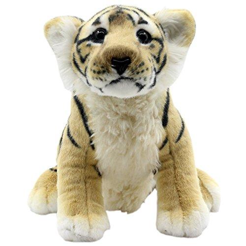 TAGLN Juguetes de Peluche Tigre Leopardo Guepardo León Los Animales Postura sentada 25 CM (Tigre marrón)