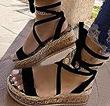 KovBexJa Sandalias De Verano para Mujer Tacones con Plataforma Correa Cruzada Punta del Tobillo 2021 Moda Fiesta En La Playa Zapatos para Mujer Negro