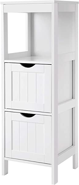 VASAGLE UBBC42WT Floor Cabinet Multifunctional Bathroom Storage Organizer Rack Stand 2 Drawers White