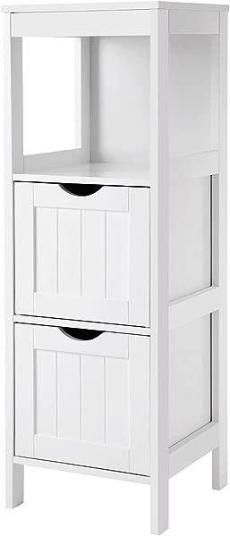 VASAGLE UBBC42WT Floor Cabinet Multifunctional Bathroom Storage Organizer Rack Stand 2 Drawers White