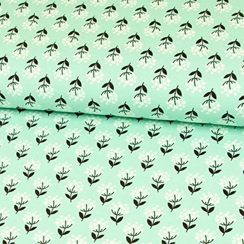 Stoffe Werning Baumwolljersey Tante Ema Dandelions Blumen Mint Kinderstoffe Modestoffe Öko-Tex - Preis Gilt für 0,5 Meter