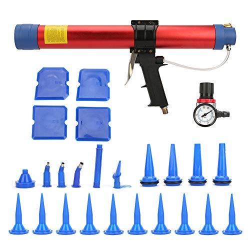 Pistola de pegamento neumático suave, pistola de pegamento de aire con indicador de velocidad para decoración arquitectónica (600 ml)