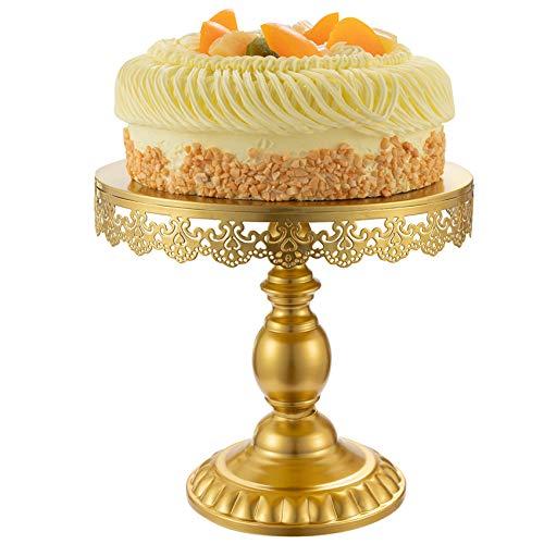 Optyuwah Plato para tartas con pie – 25 cm de diámetro, soporte para cupcakes, soporte para servir, postres, tartas, para postres, bodas, fiestas, té de la tarde, color dorado