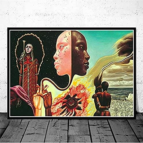 accroche Tableau Toile peinturee 50x70cm sans Cadre Affiche Miles Davis Kind of Blue Jazz Music Album Affiche