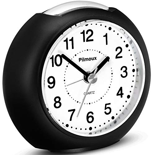 Pilmoux Silent Alarm Clocks Bedside Battery Powered Basic Clocks for...