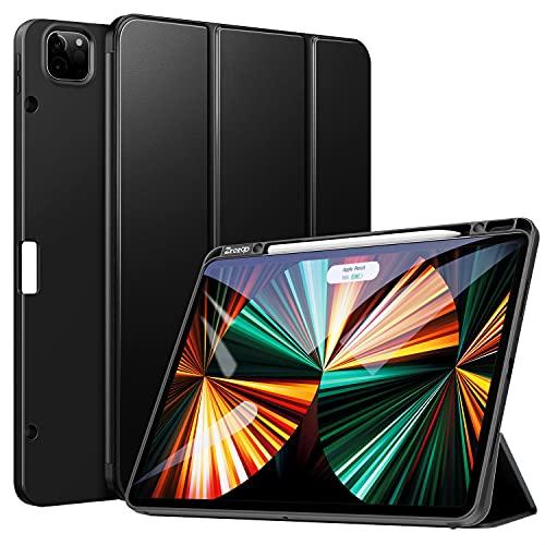 ZtotopCases Custodia per iPad PRO 12,9 Pollici 2021, Ultra Smart Cover con Pencil Holder, Funzione Auto accensione/spegnimento, Supporta la Carica di iPad Pencil per iPad PRO 12,9 5th Gen - Nero