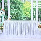 HBBMAGIC Tutu Tischrock Weiß Tüll Tischdeko Party deko Für Babyparty mädchen, Hochzeit, Geburtstag, Weihnachten, Candy bar zubehör (Weiß- Nein LED Licht, 427cm*76cm) - 6