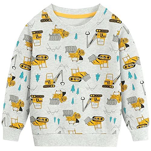 EULLA Jungen Sweatshirt Baumwolle Kinder Bulldozer Pullover Warme Digger Langarmshirt Tops DE 110