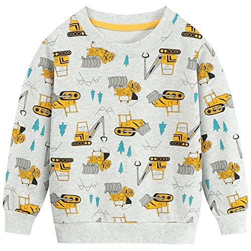 EULLA Jungen Sweatshirt Baumwolle Kinder Bulldozer Pullover Warme Digger Langarmshirt Tops DE 92