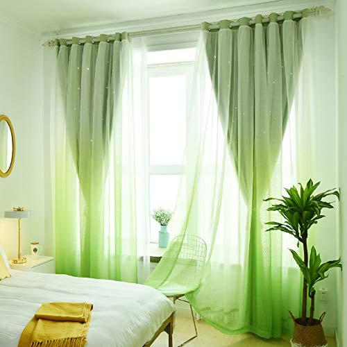 XGXQBS verduisteringsgordijnen met voile woonkamer slaapkamer Drappi oogschaduw 1 stuk 300x260cm(118x102inch) Groen