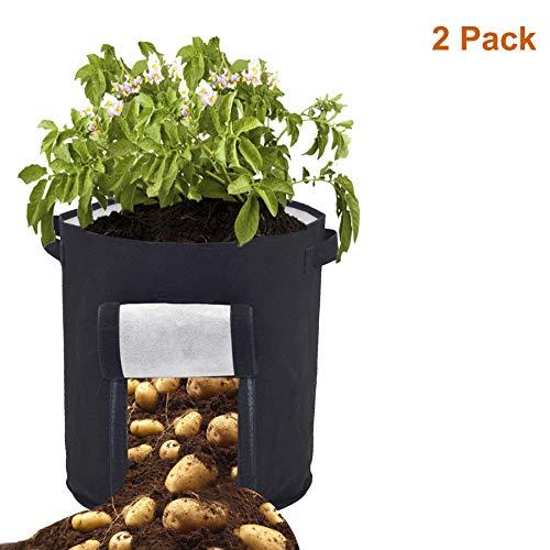 Sacs à Plantes Legumes Croissance Sac - 2 Pcs 46 Litres/12 Gallon Sac de Plantation de Pommes de Terre, Pots de Plantation en Tissu de Feutre Respirant à Double Couche avec Poignées (Noir)