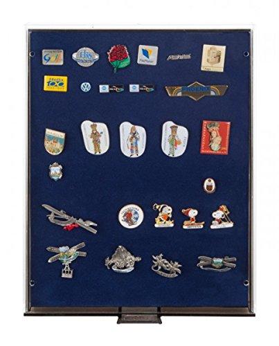 LINDNER Das Original Sammelbox RAUCHGLAS mit Blauer Schaumstoffeinlage für PINs / Orden / Abzeichen