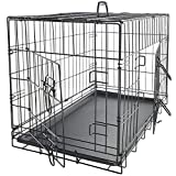 Dog Crates for Medium Dogs - Dog Crate 30' Pet Cage Double-Door Best for Big Pets - Wire Metal Kennel Cages with Divider Panel & Tray - in-Door Foldable & Portable for Animal Out-Door Travel