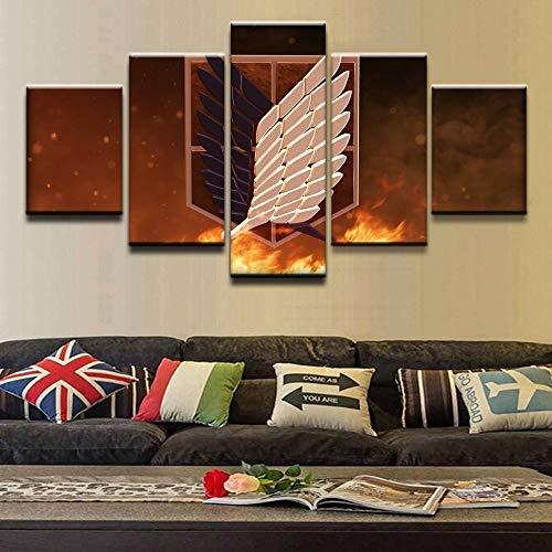 WYJIE Leinwand Malerei Home Decoration Wandkunst Bilder 5 Panel Anime Attack On Titan Mark Malzimmer HD Printed PosterFramed20x35cm20x45cm20x55cm