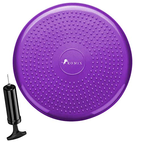 ROMIX Inflatable Balance Disc 34CM, Air Stability Wobble Cushion with Pump, Anti-Slip Surface Posture, Fitness Trainer Board for ADHD, Exercise, Workout, Relieving Back Pain, Rehabilitation - Purple