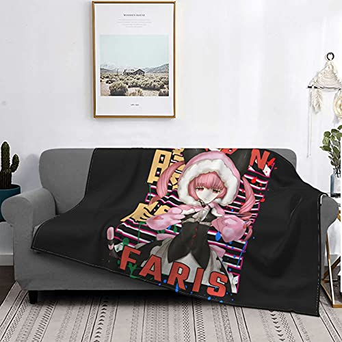 Animation Luxury Four Seasons Warm Faris Nyannyan Steins Gate Bedding Sofa and Travel Blanket Suitable for Living Room/Bedroom Sofa Bed Black 50'X40'