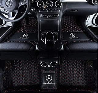 Custom Fit XPE Leather 3D Full Surrounded Waterproof Car Floor Mats for Mercedes-Benz C200 C250 C280 C300 C350 C43 C63 car Floor mat with Logo (Black red, Benz C Class 4 Door 2015-2016)