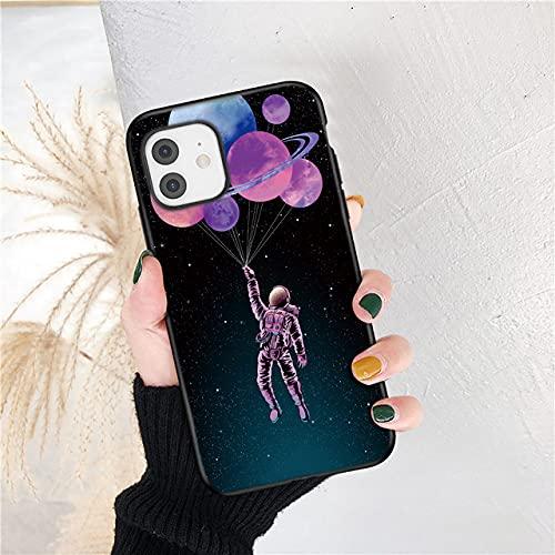 LIUYAWEI Creativity Astronaut Painting Funda para teléfono para iPhone 12 11 Pro MAX XS MAX XR X 6 6S 7 8 Plus 5 5S SE 2020 Carcasa Trasera Suave, T7, para iPhone 12 Pro