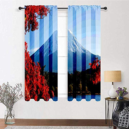 Blackout Window Curtain 96 inch Length, Landscape Curtain Panels 72' x 96' - Mountain Fiji with Snowcapped Summit and Lake Maple Trees in Autumn, Paprika Blue and Green