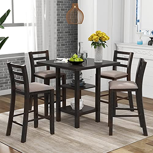 Merax 5-Piece Wooden Square Counter Height Dining Table Set with 2 Storage Shelf and 4 Padded Chairs, Espresso-1