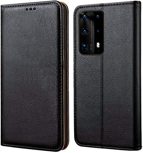 tomaxx Funda de teléfono móvil [piel auténtica] para Samsung Galaxy S21 Ultra Funda Flip Case Cover Funda Compatible para Samsung Galaxy S21 Ultra Flip Case Cover Smartphone [Magnético] Negro