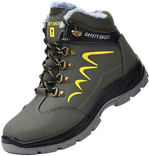 Zapatos de Seguridad Hombre Piel Forrado Invierno Cálidas Botas Punta de Anti-Piercing...