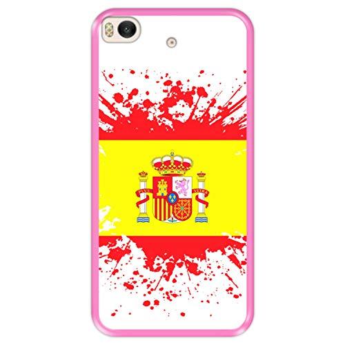Funda Rosa para [ Xiaomi Mi5s - Mi 5s ] diseño [ Ilustración 1, Bandera de España ] Carcasa Silicona Flexible TPU