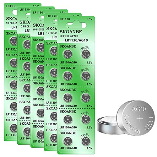 SKOANBE 50Pack LR54 AG10 LR1130 L1131F 389A Button Cell Batteries Replacement