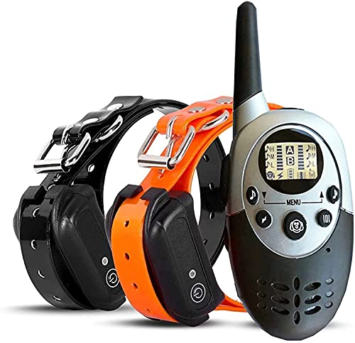 LXNQG Collar de entrenamiento de perros IPX67 Impermeable y recargable remoto de 1000 metros de entrenamiento de vibración collar de perro con zumbador, vibración y descarga eléctrica, adecuado para 2