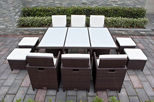 NORDLAND Gartenmöbel Set NARVIK Braun/w Polyrattan für 6+4 Personen inkl. weißer Glasplatten , Schutzabdeckung , Aluminiumgestell und allen Sitzkissen / Polstern - 1 Tisch 6 Stuhl 4 Hocker