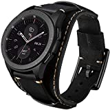 Sjiangqiao Compatible for Samsung Galaxy Watch 46mm/Gear S3 Frontier/Classic/Watch 3 45mm/Vivoactive 4/Ticwatch Pro/Huawei Watch GT2 Pro Bands,22mm Genuine Leather Bracelet Crazy Horse Cuff Band Strap