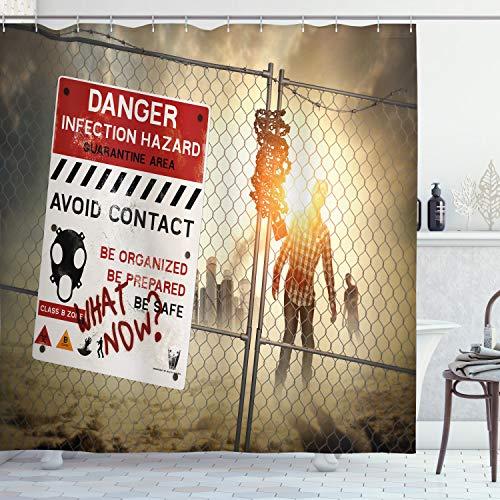 ABAKUHAUS Zombie Duschvorhang, Toter Mann zu Fuß, mit 12 Ringe Set Wasserdicht Stielvoll Modern Farbfest & Schimmel Resistent, 175x220 cm, Mehrfarbig