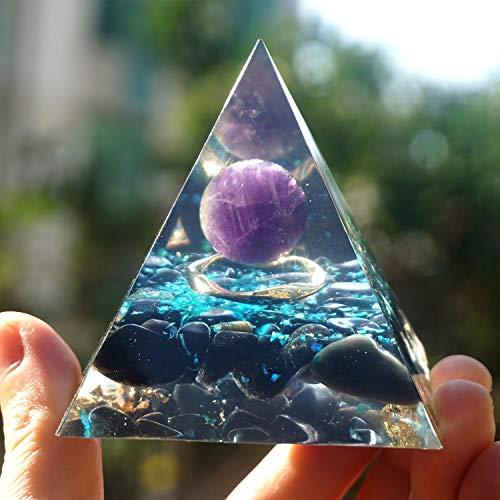 KDHJY Gute Qualität Handgemachte Amethyst Kristallbereich Orgonit Pyramide 60MM Mit Obsidian Orgon Kristall Orgon Amethyst (Size : 60mm)